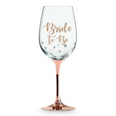 Wine Glass Rose Gold Stem - Bride to Be