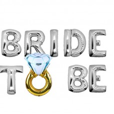 Foil Balloon Silver - BRIDE TO BE WITH RING