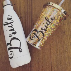 Large Cup with Straw - Glitter Gold Bride with Black Writing