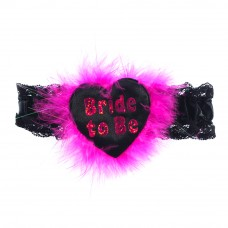 Garter - Bride to Be Black with Shimmer Pink Writing