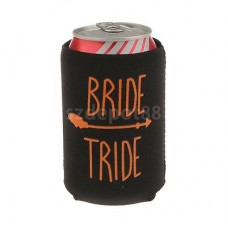 "Can Cooler - Bride ""TRIDE"" Black with Orange Writing (incorrect spelling)"