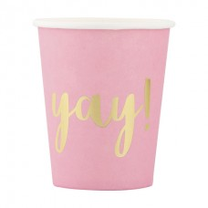 Paper Cups - Yay Hot Pink and Gold