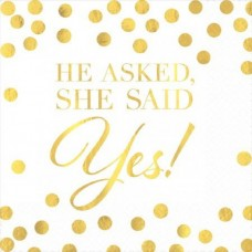 Hens Party Snack Size Napkins - He asked, She Said YES!