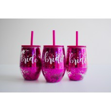 Tumbler Pink Glitter with Straw - BRIDE