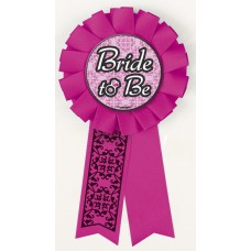 Award Ribbon Rosette Badge - BRIDE TO BE HOT PINK