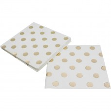 Luncheon Size Napkins - Metallic Gold Dots