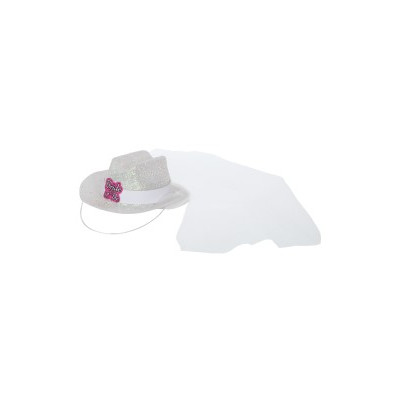 Bride To Be Mini Cowboy Hat with Veil - White