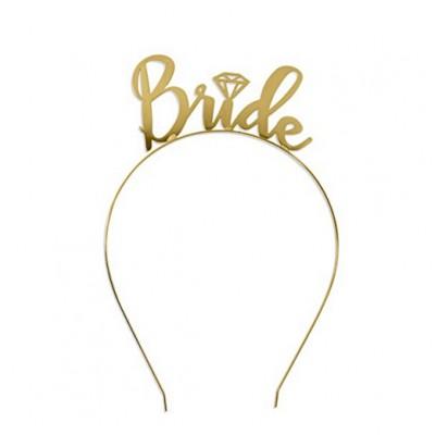 Metal Headband Bride with Diamond - GOLD