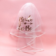 Hens Night White Veil with Rose Gold Writing