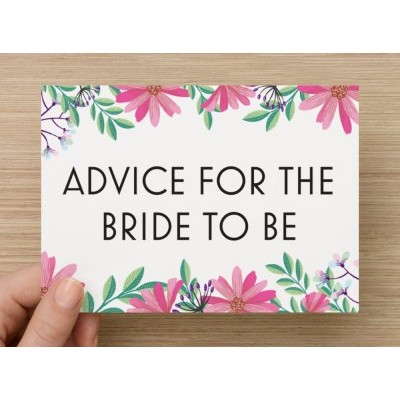 Advice Cards for the Bride to Be - Floral Pink