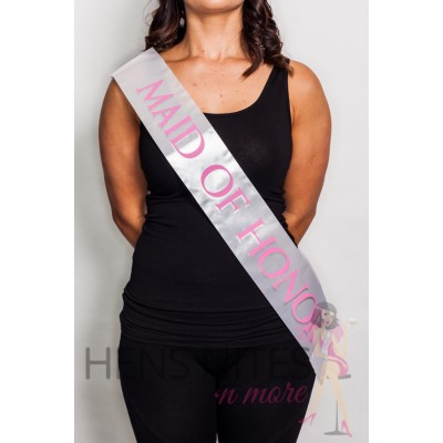 Satin Sash White with Pink Writing - MAID OF HONOR