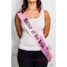 Light Pink Sash with Black Dot Writing - MOTHER OF THE BRIDE