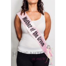 Light Pink Sash with Black Dot Writing - MOTHER OF THE GROOM