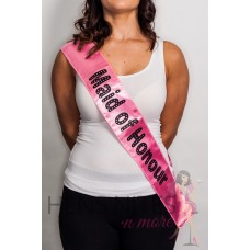Light Pink Sash with Black Dot Writing  - MAID OF HONOR