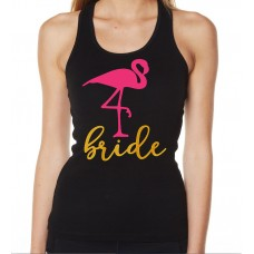 Iron On Transfer Metallic Gold and Pink - BRIDE WITH FLAMINGO