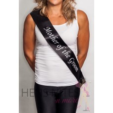 Black with White Writing Sash - MOTHER OF THE GROOM CLEARANCE SASH