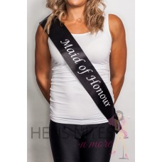 Black with White Writing Sash - MAID OF HONOUR CLEARANCE SASH
