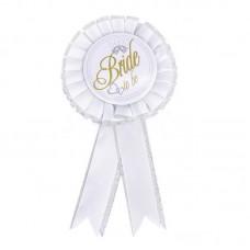 Award Ribbon Rosette Badge - BRIDE TO BE WHITE