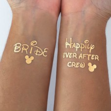 Temporary Tattoo Gold - Disney Happily Ever After and Bride Pack (5 Tattoo's)