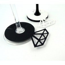 Diamond Ring Wine Glass Markers - Black