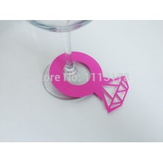 Diamond Ring Wine Glass Markers - Hot Pink