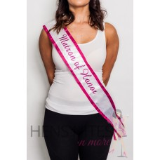 Embroidered Sash - White with Pink Writing MAID OF HONOR
