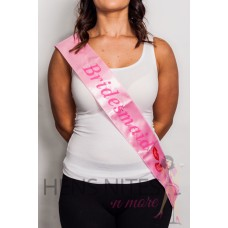 Flashing Sash - Light Pink with Pink Writing BRIDESMAID