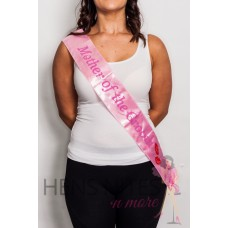 Flashing Sash - Light Pink with Pink Writing MOTHER OF THE GROOM