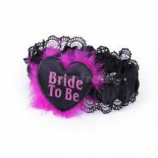 Garter - Bride to Be Black with Pink Writing
