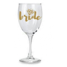 Wine Glass - Bride with Diamond (Gold)