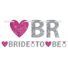Bride to Be Glittered Jointed Banner (Silver with Pink Hearts)