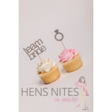 Hens Night Cupcake Toppers 10pack - TEAM BRIDE AND RING SILVER