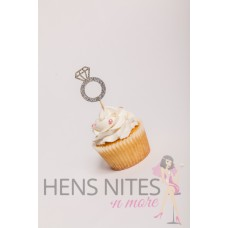 Hens Night Cupcake Toppers 10pack - DIAMOND RING SILVER (LARGE)