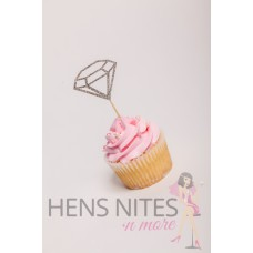 Hens Night Cupcake Toppers 10pack - DIAMOND OUTLINE SILVER (LARGE)