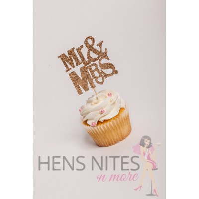 Hens Night Cupcake Toppers 10pack - MR AND MRS GOLD