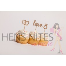 Hens Night Cupcake Toppers 10pack - LOVE AND RINGS GOLD