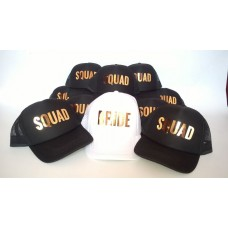 Trucker Cap Hat - Bride Squad and Bride Set BLOCK metallic - (6 Hats)