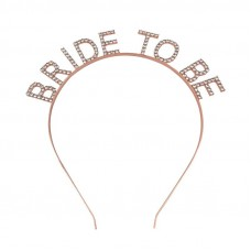 Bride to Be Rhinestone Headband Rose Gold