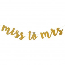 Banner - Miss to Mrs with a Diamond Ring Glitter Gold