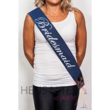 Navy Sash with White Writing  - BRIDESMAID