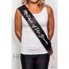 Black Sash with Script White Writing  - MOTHER OF THE GROOM