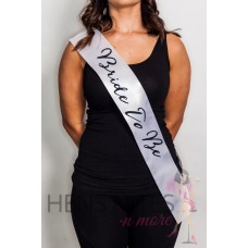 White Sash with Script Black Writing  - BRIDE TO BE