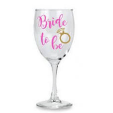 Wine Glass - Bride to Be with Ring (Pink)