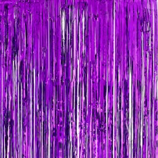 Tinsel Fringe Curtain - PURPLE