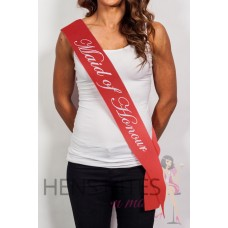 Red Sash with Cursive White Writing - MAID OF HONOUR