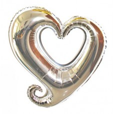 Foil Balloon - Hook Heart SILVER
