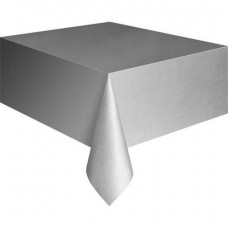 Plastic Table Cover Rectangle - Silver