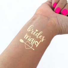 Temporary Tattoo Gold - Bridesmaid with Heart and Arrow