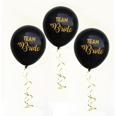Hens Night Balloons -  Team Bride Black and Gold
