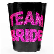 Team Bride Glitter Shot Glass